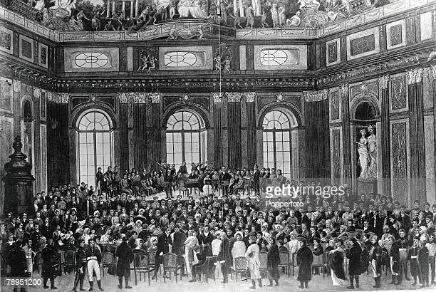 Austrian compser Josef Haydn performs the Creation oratorio to a huge crowd in the hall of Vienna University 1808