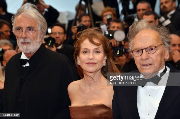 Austrian director Michael Haneke French actor JeanLouis Trintignant and French actress Isabelle Huppert arrive for the screening of 'Amour' presented...