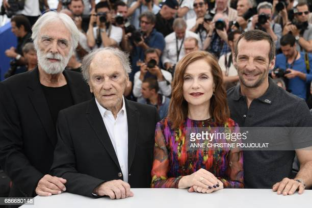 Austrian director Michael Haneke French actor JeanLouis Trintignant French actress Isabelle Huppert and French actor Mathieu Kassovitz pose on May 22...