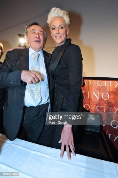 Austrian entrepreneur Richard Lugner and Brigitte Nielsen attend a press conference at Lugner City on February 15 2012 in Vienna Austria Danish model...