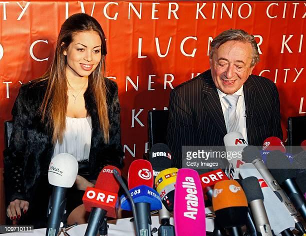 Austrian entrepreneur Richard Lugner and Moroccanborn pole dancer Karima El Mahroug nicknamed 'Ruby the Heart Stealer' attend a press conference at...