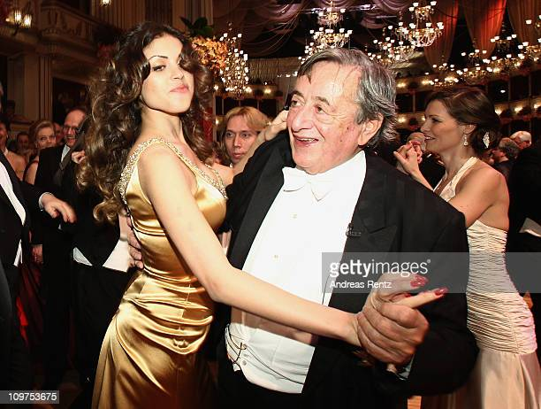 Austrian entrepreneur Richard Lugner and Moroccanborn pole dancer Karima El Mahroug nicknamed 'Ruby the Heart Stealer' attend the traditional Vienna...