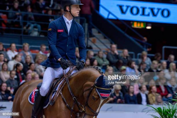 Austrian equestrian Max Kuhner on Electric Touch rides in the Accumulator Show Jumping Competition during the Gothenburg Horse Show in Scandinavium...