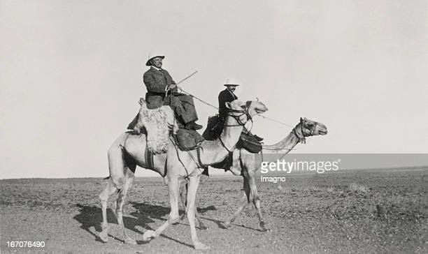 Austrian explorer Rudolf Karl Slatin and the former President of the United States Theodore Roosevelt ride on camels Khartum Sudan 15 3 1910...