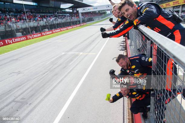 Austrian F1 Grand Prix, 29th June - 1st July 2018 Bull Racing wait for Max Verstappen of Red Bull Racing and The Netherlands during the Formula One...