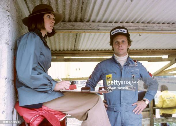 Austrian F1 racing driver Niki Lauder and Marlene Knaus at Brands Hatch on July 01 1974 in Brands Hatch England