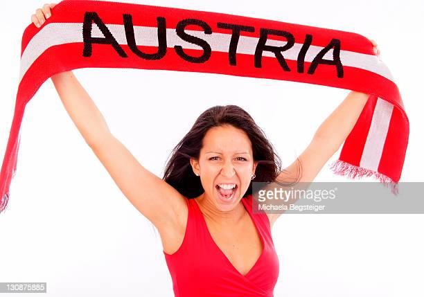 Austrian fan, woman with fan scarf