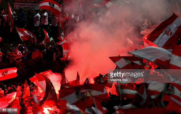 Austrian fans are seen during the FIS Ski Jumping World Cup at the 57th Four Hills Ski Jumping Tournament on January 6 2009 in Bischofshofen Austria