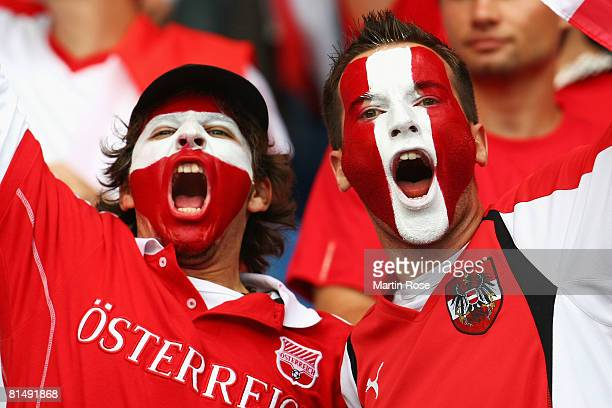 Austrian fans cheer ahead of the UEFA EURO 2008 Group B match between Austria and Croatia at Ernst Happel Stadion on June 8, 2008 in Vienna, Austria.