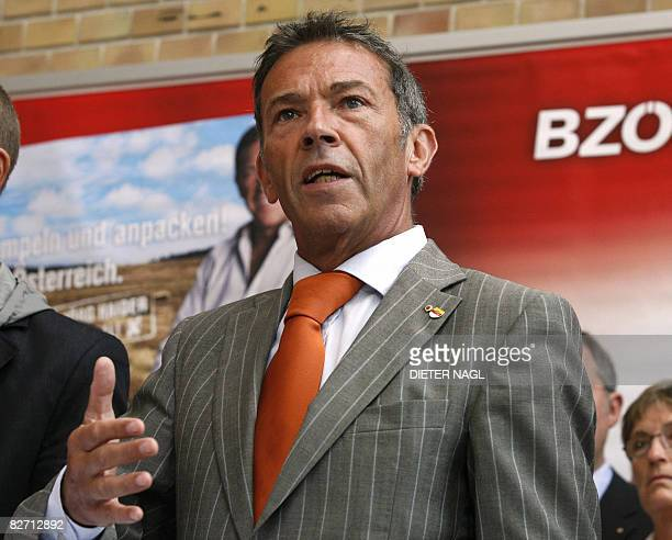 Austrian farright party leader and governor of the Carinthia region Joerg Haider poses on September 08 2008 in Vienna as he presents himself as the...