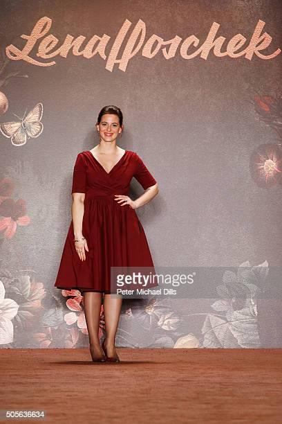 Austrian fashion designer Lena Hoschek attends her show during the MercedesBenz Fashion Week Berlin Autumn/Winter 2016 at Brandenburg Gate on January...