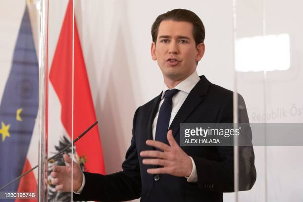 Austrian Federal Chancellor Sebastian Kurz delivers a press statement after a video conference with the provincial governor about the further...