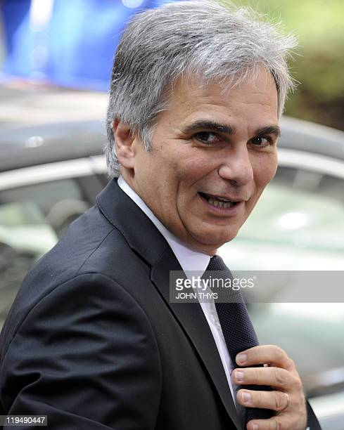 Austrian Federal Chancellor Werner Faymann arrives for the EU summit on July 21 2010 at the European Council headquarters in BrusselsEurozone leaders...