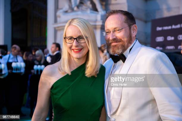 Austrian Federal Minister for Digital and Economic Affairs Margarete Schramboeck and her husband during the Fete Imperiale 2018 on June 29, 2018 in...