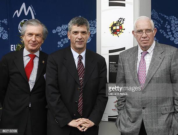 Austrian football president Friedrich Stickler Spain football president Angel Maria Villar Llona and Spain football team head coach Luis Aragones...