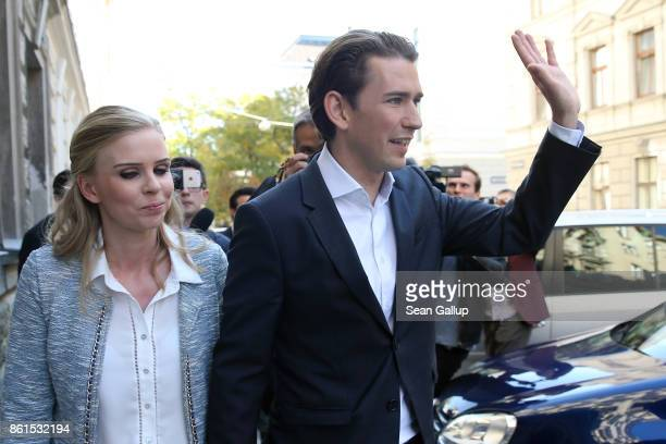 Austrian Foreign Minister and leader of the conservative Austrian People's Party Sebastian Kurz and his girlfriend Susanne Thier leave after casting...