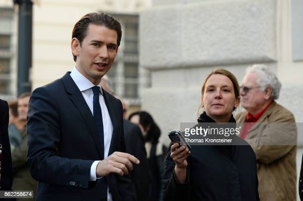 Austrian Foreign Minister and leader of the conservative Austrian People's Party Sebastian Kurz arrives for the decommissioning of the outgoing...