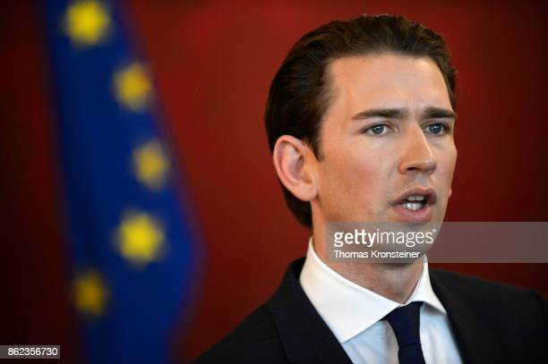 Austrian Foreign Minister and leader of the conservative Austrian People's Party Sebastian Kurz speaks to media after a meeting with Austrian...
