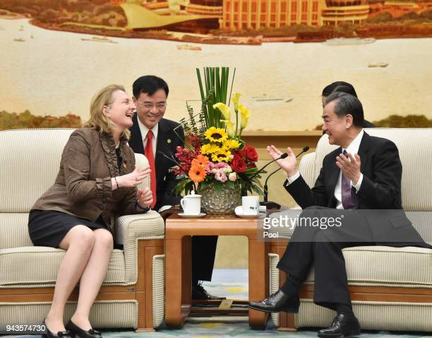 Austrian Foreign Minister Karin Kneissl talks with Chinese State Councilor and Foreign Minister Wang Yi at the Great Hall of the People in Beijing...