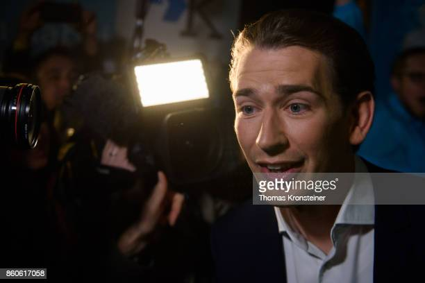 Austrian Foreign Minister Sebastian Kurz of Austrian Peoples Party arrives at ORF studios for the 'Elefantenrunde' television debate between the lead...
