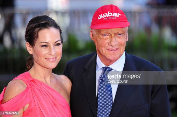 Austrian former Formula 1 racing driver Niki Lauda and his wife Birgit attend the world premiere of Rush in central London on September 2 2013 Set...