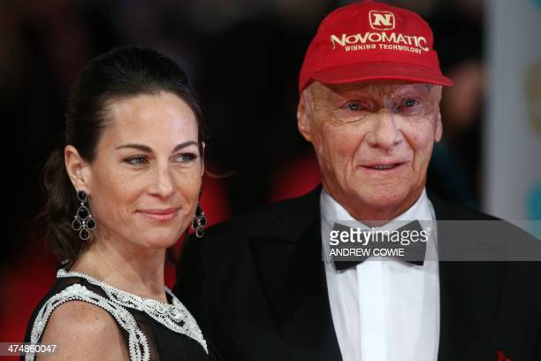 Austrian former formula one racing driver Niki Lauda with his wife Birgit on the red carpet for the BAFTA British Academy Film Awards at the Royal...