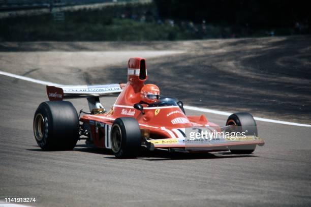 Austrian Formula One driver Niki Lauda drives his Ferrari 312 B3 during the French Grand Prix at Dijon-Prenois motor racing circuit located in...