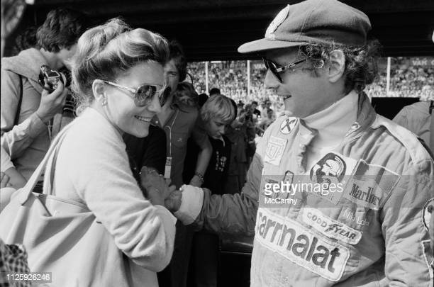 Austrian Formula One driver Niki Lauda with his wife Marlene Knaus at the Dutch Grand Prix Circuit Park Zandvoort Netherlands 1st September 1977