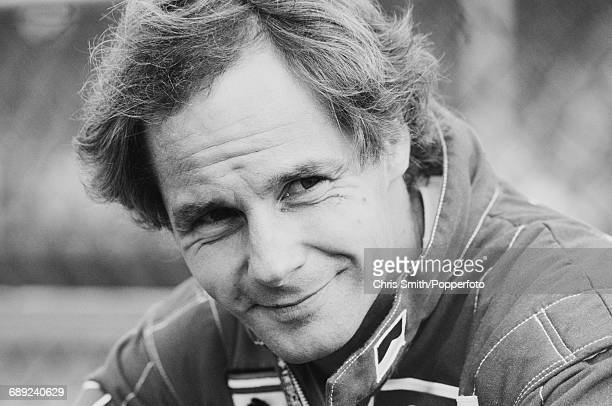 Austrian Formula One racing driver Gerhard Berger pictured before driving the Scuderia Ferrari 412T1 V12 to finish in third place in the 1994 British...