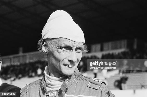 Austrian Formula One racing driver Niki Lauda pictured during qualifying for the 1984 Portuguese Grand Prix at Estoril in Portugal on 20th October...