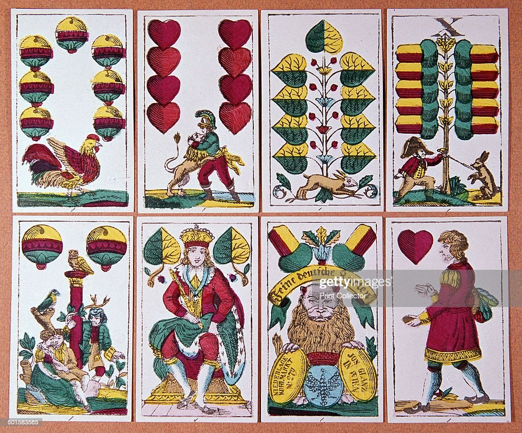 Austrian Fortune-Telling Cards from a pack of 32, showing