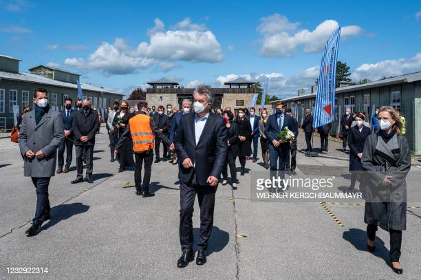 Austrian Health Minister Wolfgang Mueckstein, Austrian Vice-Chancellor Werner Kogler and Austria's Climate Protection Minister Leonore Gewessler...