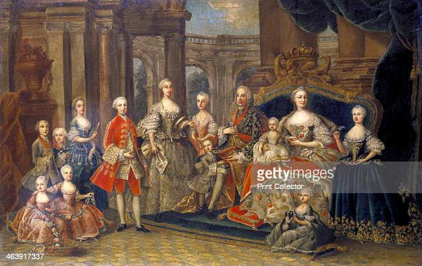 'Austrian Imperial Family', c1764. Empress Maria Teresa , Archduchess of Austria, Queen of Hungary and Bohemia with husband Emperor Francis I , Holy...