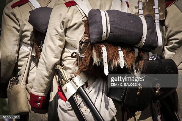 Austrian Imperial Infantry accoutrements consisting of cowhide backpack blanket briquet and ammunition pouch 19th century Historical reenactment