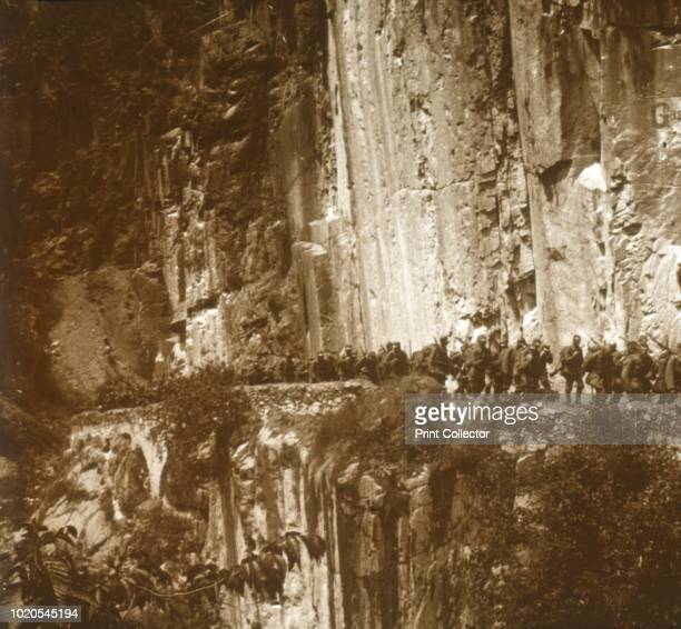 Austrian infantry, Tyrol, circa 1914-circa 1918. Photograph from a series of glass plate stereoview images depicting scenes from World War I . Artist...