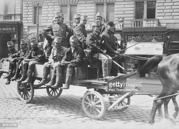 Austrian infantrymen on their way to Budapest railroad station during World War I circa 1915