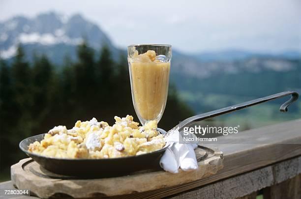 Austrian kaiserschmarrn, cut-up pancake with raisins, close-up
