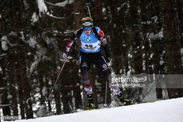 Austrian Lisa Theresa Hauser competes in the IBU Biathlon World Cup Women's 15 km Individual Competition in Antholz-Anterselva, Italian Alps, on...