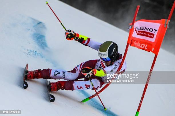 Austrian Manuel Feller competes during the first run of the FIS Alpine Ski Men's Giant Slalom World Cup event, on December 20, 2020 on the Gran Risa...