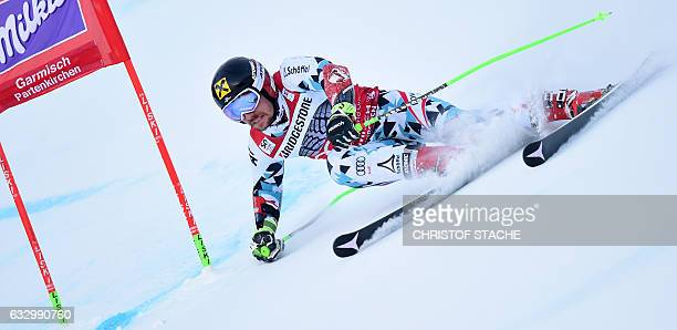 Austrian Marcel Hirscher races during the first men's giant slalom competition at the FIS Alpine Skiing World Cup in GarmischPartenkirchen southern...