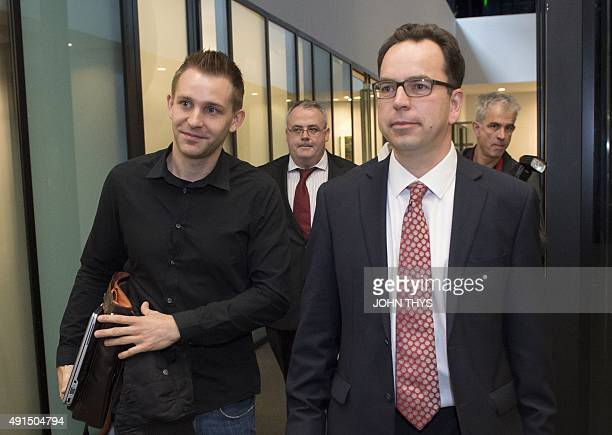 Austrian Max Schrems arrives with his lawyer Herwig Hofmann before a verdict at the European Court of Justice in Luxembourg on October 6 2015 The...