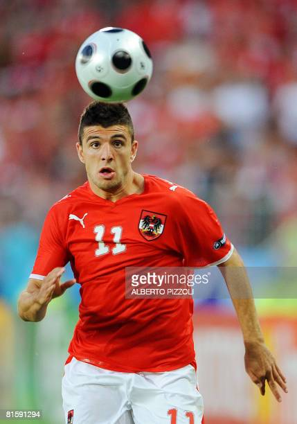 Austrian midfielder Umit Korkmaz eyes the ball during the Euro 2008 Championships Group B football match Austria vs. Germany on June 16, 2008 at...