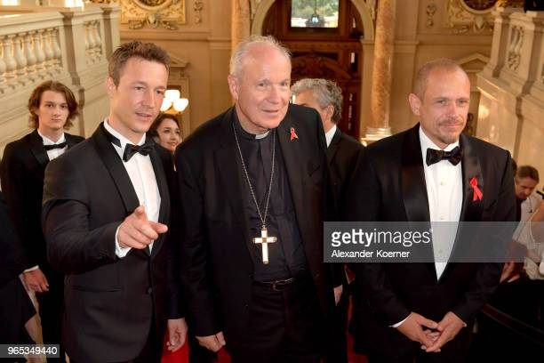 Austrian Minister for EU Arts Culture and Media Gernot Bluemel Christoph Schoenborn and Life Ball organizor Gery Keszler attend the LIFE Celebration...