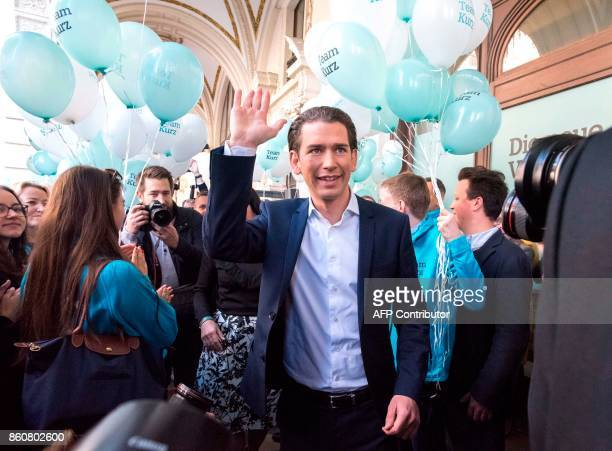 Austrian Minister for Foreign Affairs and the chairman of Austria's People's Party Sebastian Kurz greets his supporters as he is leaving for his 36...