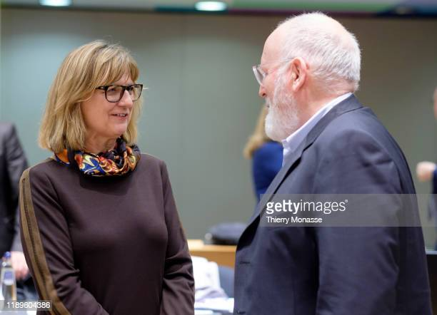 Austrian Minister for Sustainability and Tourism Maria Patek is talking with the EU Commissioner for European Green Deal First Vice President and...