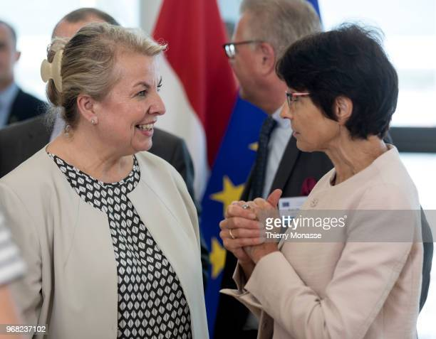 Austrian Minister Minister of Social Affairs Beate HartingerKlein talks with the EU Employment Social Affairs Skills and Labour Mobility Commissioner...