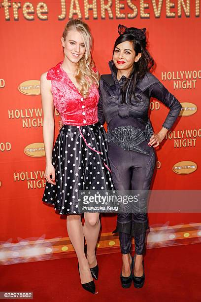 Austrian model Larissa Marolt and german actress Collien UlmenFernandes attend the Hollywood Superhero Fairytale Night hosted by Jens Hilbert on...
