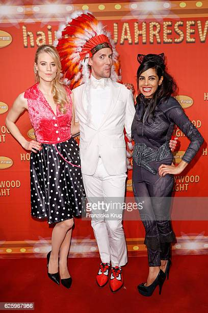 Austrian model Larissa Marolt Hairfree founder Jens Hilbert and german actress Collien UlmenFernandes attend the Hollywood Superhero Fairytale Night...