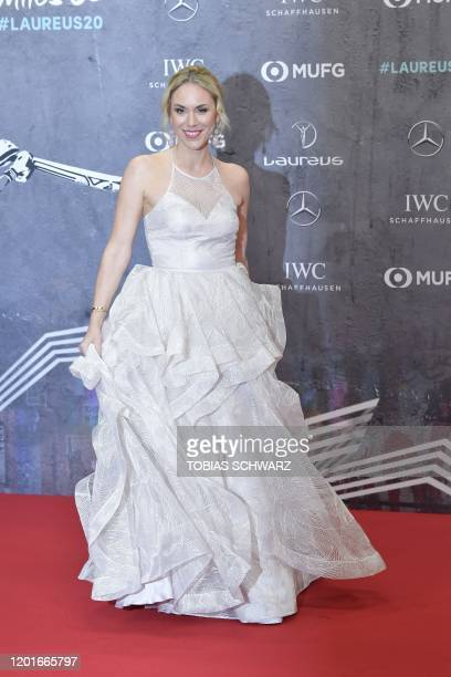 Austrian moderator and journalist Katharina Woerndl poses on the red carpet prior to the 2020 Laureus World Sports Awards ceremony in Berlin on...