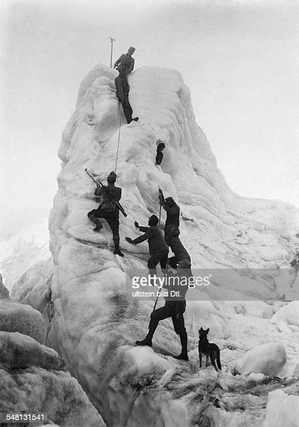 Austrian Mountain Infantry is passing a glacier of the Ortler Range
